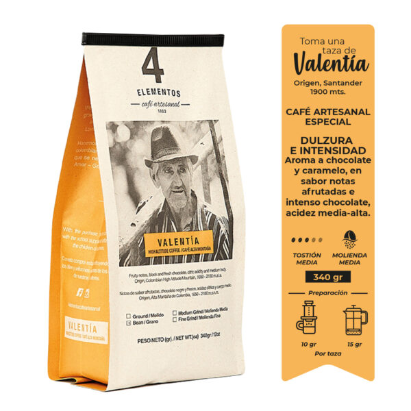 Café Artesanal Valentía 4 Elementos
